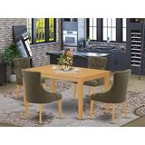 Winston Porter Populuxe 5 Piece Solid Wood Dining Set Wood/Upholstered Chairs in Brown, Size 30.0 H x 36.0 W x 60.0 D in | Wayfair