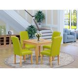 Winston Porter Tern 5 Piece Solid Wood Dining SetWood/Upholstered Chairs in Brown, Size 30.0 H x 36.0 W x 36.0 D in | Wayfair