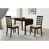 Charlton Home® Pecoraro 3 Piece Drop Leaf Dining Table SetWood/Upholstered Chairs in Black/Brown, Size 29.87 H in | Wayfair