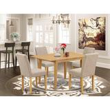 Winston Porter Tuoi 5 - Person Butterfly Leaf Rubberwood Solid Wood Dining Set Wood/Upholstered Chairs in Brown, Size 30.0 H in | Wayfair