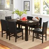 Andover Mills™ Woodhill 7 Piece Dining Set Wood/Upholstered Chairs in Black/Brown, Size 30.0 H in | Wayfair C8337FE0A7B6431788F586E34688AD6E