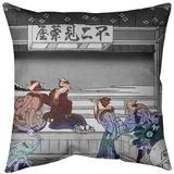 East Urban Home Katsushika Hokusai Yoshida at Tokaido Euro Pillow Leather/Suede in Red, Size 26.0 H x 26.0 W in | Wayfair