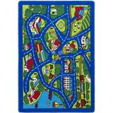 Zoomie Kids Staton City Street Map Yellow Area Rug Polypropylene in White, Size 85.0 H x 58.0 W x 0.3 D in   Wayfair