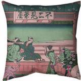 East Urban Home Katsushika Hokusai Yoshida at Tokaido Throw Pillow Cotton in Pink/Green, Size 14.0 H x 14.0 W x 1.0 D in   Wayfair
