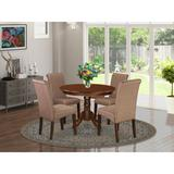Charlton Home® Morganna Table 5 - Piece Rubberwood Solid Wood Dining SetWood/Upholstered Chairs in Brown, Size 30.0 H x 36.0 W x 36.0 D in   Wayfair