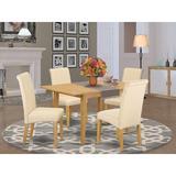 Winston Porter Sarai Kitchen Table 5 Piece Extendable Solid Wood Breakfast Nook Dining Set Table Color: Oak, Chair in Oak/Beige/Oak   Wayfair