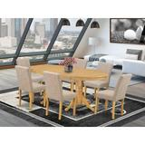 Winston Porter Ashendon 7 Piece Extendable Solid Wood Dining Set Wood/Upholstered Chairs in Brown, Size 30.0 H in | Wayfair