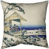 East Urban Home Tea House at Koishikawa Throw Pillow Cotton in White, Size 18.0 H x 18.0 W x 1.5 D in   Wayfair D08D5892590C437AB358F1B775D8742C