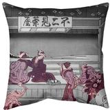 East Urban Home Katsushika Hokusai Yoshida at Tokaido Euro Pillow Leather/Suede in Red, Size 26.0 H x 26.0 W x 2.0 D in | Wayfair