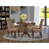 Charlton Home® Pappalardo 3 - Piece Drop Leaf Solid Wood Rubberwood Dining SetWood/Upholstered Chairs in Brown, Size 29.5 H in | Wayfair