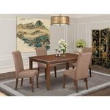 Winston Porter Bailee Kitchen Table 5 Piece Solid Wood Dining Set Wood/Upholstered Chairs in Brown, Size 30.0 H x 36.0 W x 60.0 D in | Wayfair