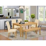 Winston Porter Kaila Kitchen Table 6 Piece Solid Wood Dining SetWood/Upholstered Chairs in Brown, Size 29.0 H x 36.0 W x 60.0 D in | Wayfair