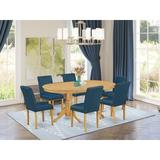 Winston Porter Albali 7 - Piece Counter Height Extendable Solid Wood Dining Set Wood/Upholstered Chairs in Brown, Size 30.0 H in | Wayfair