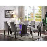 Latitude Run® Bender 7 Piece Dining Set Wood/Glass/Upholstered Chairs in Brown/Gray, Size 30.0 H x 40.0 W x 76.0 D in | Wayfair