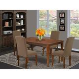 Alcott Hill® Marylou 5 - Piece Rubberwood Solid Wood Dining Set Wood/Upholstered Chairs in Brown, Size 30.0 H x 36.0 W x 60.0 D in | Wayfair