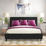 Gold Flamingo Azaiah Button Tufted Upholstered Platform Bed Metal in Black, Size 74.0 W x 87.0 D in | Wayfair B3F57589BFAF496AB570A254CFE28FE8