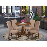 Charlton Home® Cambridge 5 - Piece Solid Wood Dining SetWood/Upholstered Chairs in Brown, Size 30.0 H x 36.0 W x 36.0 D in | Wayfair