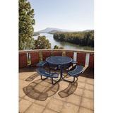 Latitude Run® Char Log Picnic Table Metal in Blue, Size 30.0 H x 80.0 W x 80.0 D in   Wayfair PB358-RDVB
