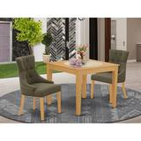 Winston Porter Wakarusa 3 - Piece Rubberwood Solid Wood Dining Set Wood/Upholstered Chairs in Brown, Size 30.0 H in   Wayfair