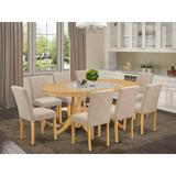 Winston Porter LaRena 9 Piece Extendable Solid Wood Dining Set Wood/Upholstered Chairs in Brown, Size 30.0 H in | Wayfair