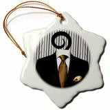 The Holiday Aisle® Wedding Mens Suit Tie for the Groom Or Groomsman Snowflake Holiday Shaped Ornament Ceramic/Porcelain in Black   Wayfair