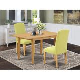 Winston Porter Vandervliet 3 Piece Extendable Solid Wood Dining Set Wood/Upholstered Chairs in Brown, Size 30.0 H in | Wayfair