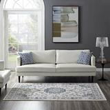 Alcott Hill® Broadnax Distressed Vintage Persian Ivory & Moroccan Blue Area Rug Polypropylene in Blue/Brown/White, Size 90.5 H x 63.0 W x 0.5 D in