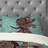 East Urban Home Octopus Bloom Pillowcase in Blue, Size King   Wayfair EABP1427 40276038