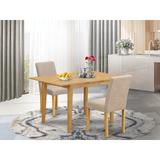 Winston Porter Gebbert 3 Piece Extendable Solid Wood Dining Set Wood/Upholstered Chairs in Brown, Size 30.0 H in | Wayfair