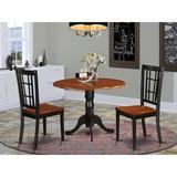 Charlton Home® Starrett 3 - Piece Drop Leaf Rubberwood Solid Wood Dining Set Wood in Brown, Size 29.5 H in   Wayfair DLNI3-BCH-W