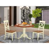 Charlton Home® Stannard Drop Leaf Rubberwood Solid Wood Dining Set Wood in White, Size 29.5 H in   Wayfair DLQU3-BMK-W