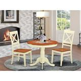 Charlton Home® Stagg 3 - Piece Rubberwood Solid Wood Dining Set Wood in Brown/White, Size 30.0 H in | Wayfair ANQU3-WHI-W