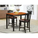 Charlton Home® Socha Rubberwood Solid Wood Dining SetWood in Black/Brown, Size 36.0 H x 30.0 W x 48.0 D in | Wayfair