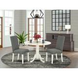 Alcott Hill® Barbra 3 - Piece Drop Leaf Solid Wood Rubberwood Dining Set Wood/Upholstered Chairs in White, Size 29.5 H in | Wayfair