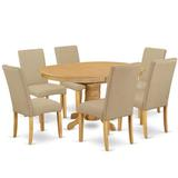 Alcott Hill® Bobbi 7 - Piece Extendable Rubber Solid Wood Dining Set Table Color: Oak, Chair Color: Dark Khaki, Wood/Upholstered Chairs/Solid Wood