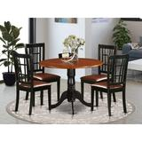 Charlton Home® Sommers 5 - Piece Drop Leaf Rubberwood Solid Wood Dining Set Wood/Upholstered Chairs in Brown, Size 29.5 H in | Wayfair DLNI5-BCH-LC