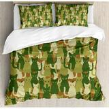 East Urban Home Camo Soldier Kittens Protective Cat Army Theme Defense Military Duvet Cover Set Microfiber in Green, Size Queen | Wayfair