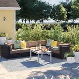 Sol 72 Outdoor™ Kasandra Wicker Patio Sectional w/ Cushions All - Weather Wicker/Rust - Resistant Metal, Size 29.0 H x 124.0 W x 96.0 D in | Wayfair