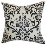 Latitude Run® Farhan Damask Bedding Sham 100% Cotton in White/Black, Size 26.0 H x 26.0 W x 8.0 D in   Wayfair EURO-PP-TRADITIONS-BLACKWHITE-C