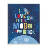 "Harriet Bee I Love You Moon & Back Rocket Ship Wall Plaque, Canvas in Blue, Size 0 L x 10"" W x 15"" H 