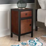 Charlton Home® Hiran Wood 1 Drawer Nightstand Wood in Black/Brown/Green, Size 26.0 H x 16.0 W x 13.0 D in   Wayfair 96386