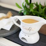 Style Me Pretty Thankful Gravy Boat w/ Warming Stand Stoneware in White, Size 9.9 H x 7.5 W in   Wayfair 42152