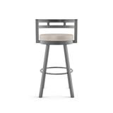 Latitude Run® Brookford Bar & Counter Swivel Stool Plastic/Acrylic/Metal in Gray/Brown, Size 38.25 H x 21.75 W x 19.25 D in   Wayfair