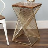 Ivy Bronx Craut Abstract End Table Wood/Metal in Yellow/Brown, Size 25.0 H x 14.75 W x 14.75 D in | Wayfair 209633