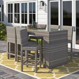Sol 72 Outdoor™ Cedarville 7 Piece Bar Height Pub Table Set Glass in Gray, Size 42.0 H in   Wayfair FLORENCE-BARTABLE-WITHBACK-6