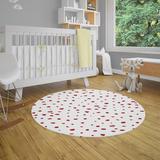 Ebern Designs Afreena Small Dots Area Rug Polyester in Red, Size 60.0 H x 60.0 W x 0.1 D in | Wayfair 80A21E7928A245F3B0D35CC67E485FEA