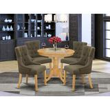 Winston Porter Ingelido 5 Piece Dining SetWood/Upholstered Chairs in Brown, Size 30.0 H x 36.0 W x 36.0 D in | Wayfair