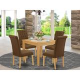 One Allium Way® Steve 5 Piece Solid Wood Dining Set Wood/Upholstered Chairs in Brown, Size 30.0 H in | Wayfair 1B9CD2A3139543688F629ABA1DF9A578