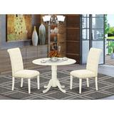 Winston Porter Elza 3 Piece Drop Leaf Solid Rubber Wood Dining SetWood/Upholstered Chairs in White, Size 29.5 H in   Wayfair