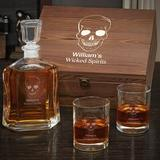 Winston Porter Annex Skull Personalized 4 Piece Whiskey Decanter Set Glass, Size 14.0 H x 11.0 W in | Wayfair 2C5DEC9206314A5E8AD792037406D1D9